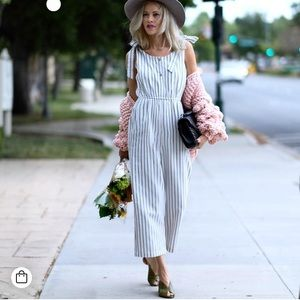 Striped Cropped Jumpsuit With Bows